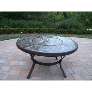 Oakland Living Corporation Baltic Round Aluminum/Natural Stone Chat Table