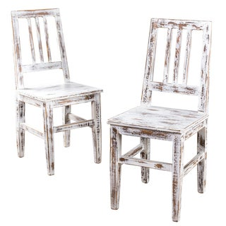 Set of 2 Buffed Strata White Mission Dining Chair (India)