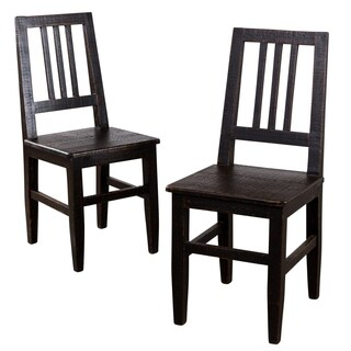 Set of 2 Pitched Coal Mission Dining Chairs (India)