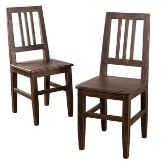 Set of 2 Mission Hewn Carob Brown Finish Dining Chair (India)