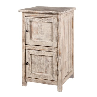 Flicked Dusk Grey Finish 2-Door Side Table (India)