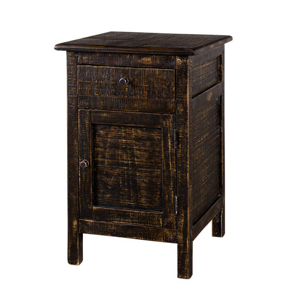 Handmade Pitched Coal 1-Drawer Side Table (India)