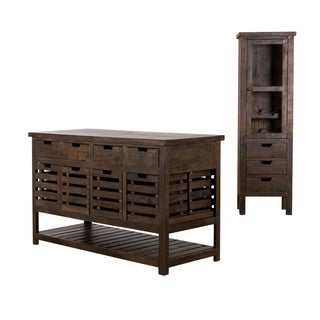 Rustic Mission Kitchen Island and Cabinet Set (India)