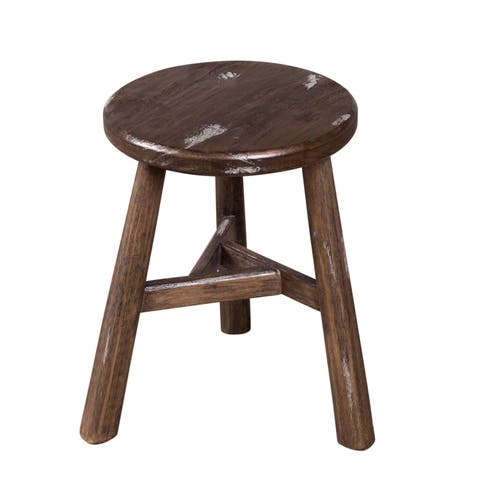Handmade Farmhouse Dining Stool - Notched Sable and Vintage Ivory (Nepal)