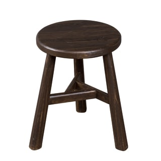 Farmhouse Notched Sable Finish Round Dining Stool (India)