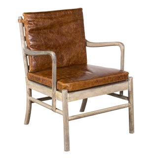 Tobacco Water Buffalo Leather and Wood Parliament Chair (India)