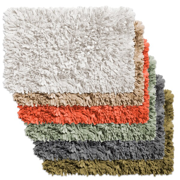 shop cotton blend paper shag bath rug in assorted colors on sale free shipping today