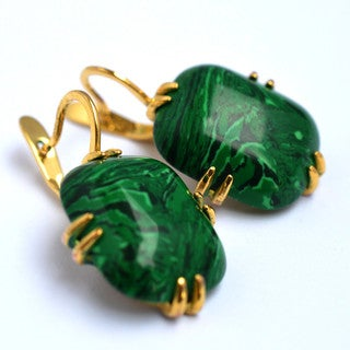 Gorgeous 24K Gold Plated with Malachite Stone Earrings Mila by Emerald Lure