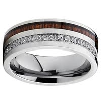 Oliveti Men's Titanium with Wood Inlay and Cubic Zirconia 8-millimeter Comfort Fit Wedding Band