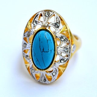 24K Gold Plated Ring Claire with Turquoise Stone and White Austrian Crystals