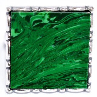 Gorgeous Silver Plated with Malachite Stone Ring Classic by Emerald Lure