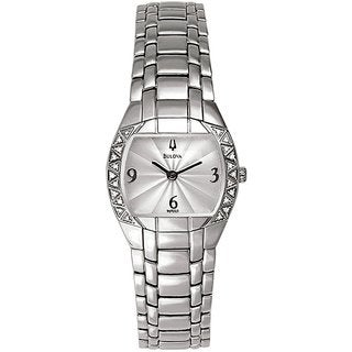 Bulova Ladies 96R003 Stainless Steel and Diamond Watch with an Etched Silver Tone Dial