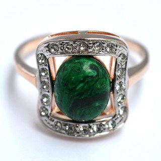 Emeral Lure 24K Gold Plated Malachite Stone Ring