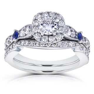 Annello By Kobelli 14k White Gold 1 1 6ct TGW Moissanite With Sapphire And Diamond Antique 2 Ring Bridal Set GH I1 I2