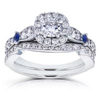 Annello by Kobelli 14k White Gold 1 1/6ct TGW Moissanite with Sapphire and Diamond Antique 2 Ring Bridal Set (GH, I1-I2)