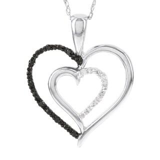 H Star 10k White Gold Black and White Diamond Accent Double Heart Pendant (I-J, I2-I3)