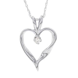 H Star 14k White Gold Daimond Accent Heart Pendant (I-J, I2-I3)