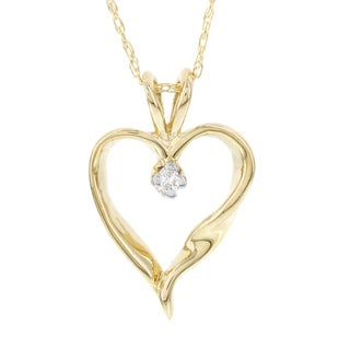H Star 14k Yellow Gold Daimond Accent Heart Pendant (I-J, I2-I3)