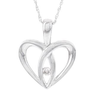 H Star 10k White Gold Diamond Accent Heart Pendant (I-J, I2-I3)