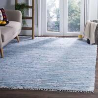 Safavieh Rag Cotton Rug Bohemian Handmade Light Blue/ Multi Cotton Rug - 6' x 9'