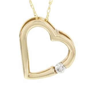 H Star 10k Yellow Gold Diamond Accent Heart Pendant (I-J, I2-I3)