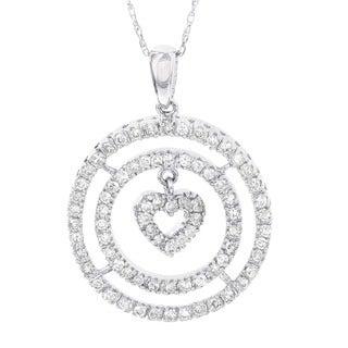 H Star 14k White Gold 1/2ct Diamond Circle Heart Pendant (I-J, I2-I3)