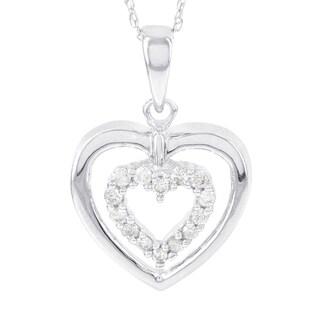 H Star 10k White Gold 1/6ct TDW Diamond Double Heart Pendant (I-J, I2-I3)
