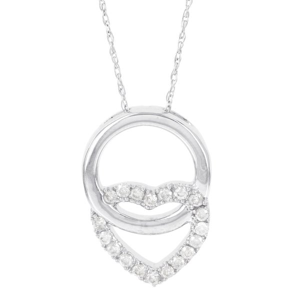 Shop H Star 14k White Gold 1 5ct Diamond Circle Heart
