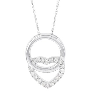 H Star 14k White Gold 1/5ct Diamond Circle Heart Pendant (I-J, I2-I3)