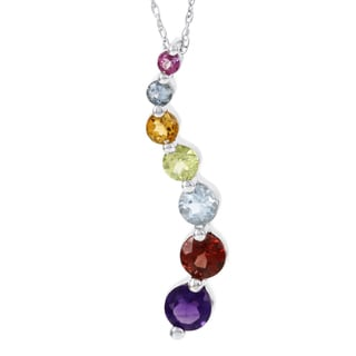 H Star 14k White Gold Mulit-color Gemstone Journey Necklace