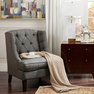 Madison Park Kelso Blue Muti Button Tufted Accent Chair