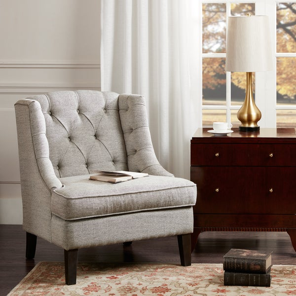 Shop Madison Park Kelso Beige Button Tufted Accent Chair