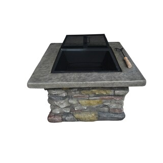Crawford & Burke Fuji Stone Square Wood Burning Fire Pit