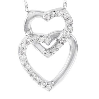 H Star 14k White Gold 1/8ct Diamond Double Heart Pendant (I-J, I2-I3)