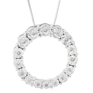 H Star 10k White Gold 1/10ct Diamond Cricle Pendant (I-J, I2-I3)