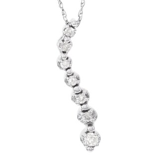 H Star 10k White Gold 1/10ct Diamond Journey Pendant (I-J, I2-I3)
