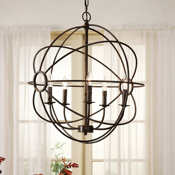 20 Hassle Free Zen Dining Room Decorating Ideas: Shop Abbyson Chandler 5-light Brass Orb Chandelier