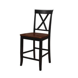 Emerald Belmar Black and Cherry X Back Barstool-set of 2