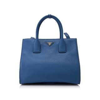 Prada Vit. Daino Blue Handbag (As Is Item)