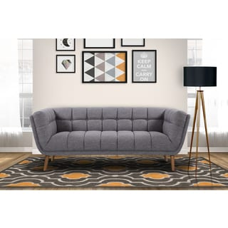 Armen Living Phantom Mid-Century Modern Sofa in Dark Gray Linen and Walnut Legs