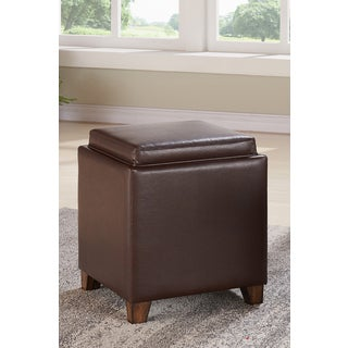 Armen Living Rainbow Kahlua Brown Faux Leather Contemporary Storage Ottoman  With Tray