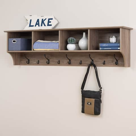 "Prepac 60"" Wide Hanging Entryway Shelf, Drifted Gray"