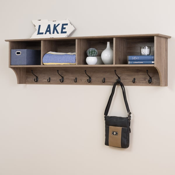 Prepac Grey Wood 60 Inch Hanging Entryway Shelf Free