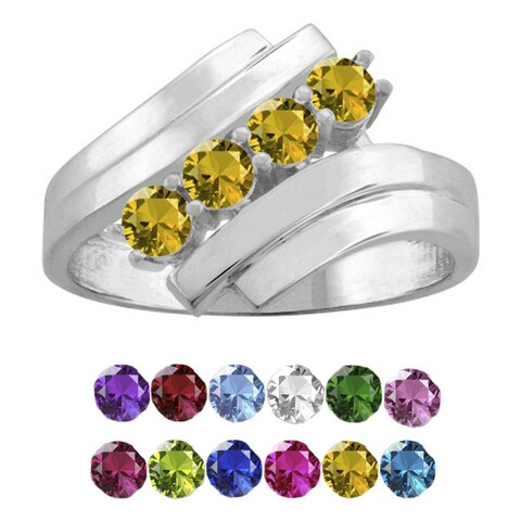 10K White Gold Round-Cut 4-Stone Mothers Ring