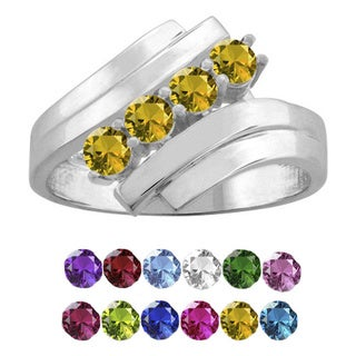 10K White Gold Round-Cut 4-Stone Mothers Ring (More options available)