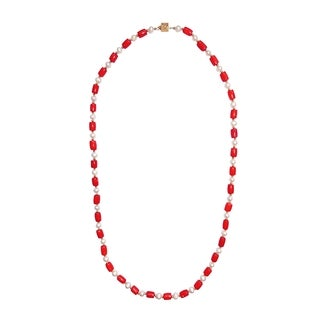 Coral and Pearl 32-inch Barrel-shaped Necklace