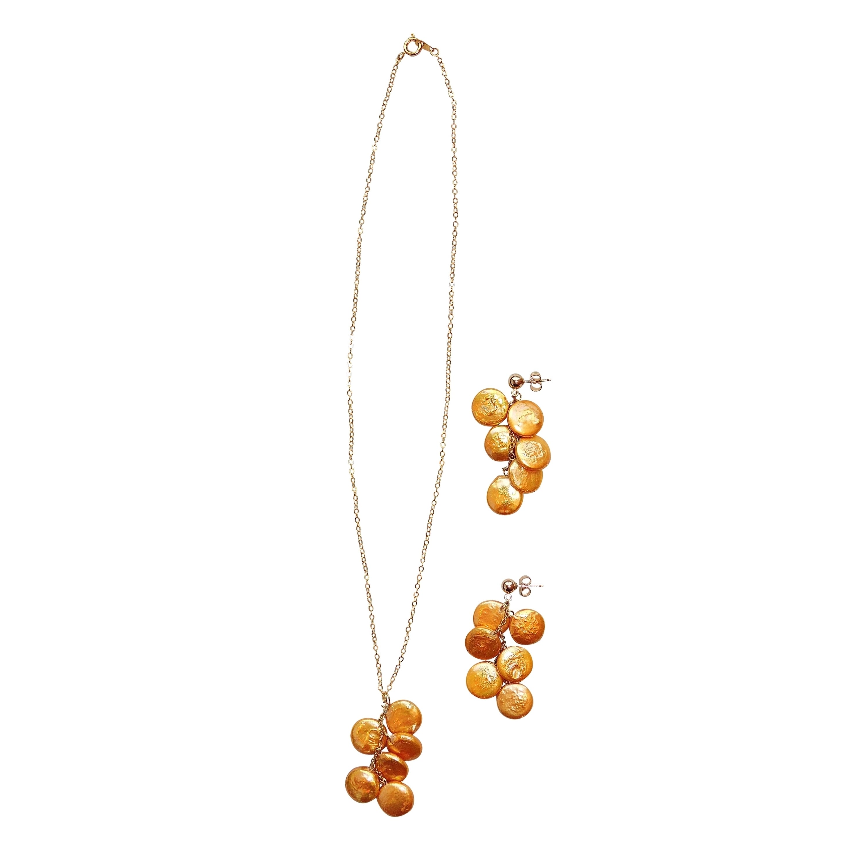 Gold Coin Pearl Pendant Necklace and Earring Set (Gold Co...