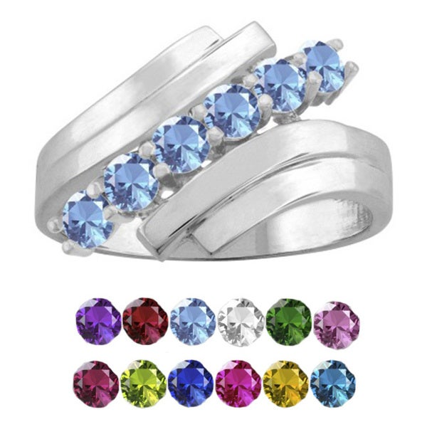 10K White Gold Round-Cut 6-Stone Mothers Ring