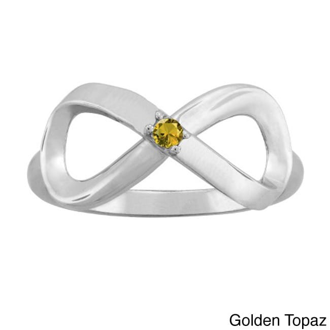 10K White Gold Round-Cut 1-Stone Infinity Mothers Ring (S...