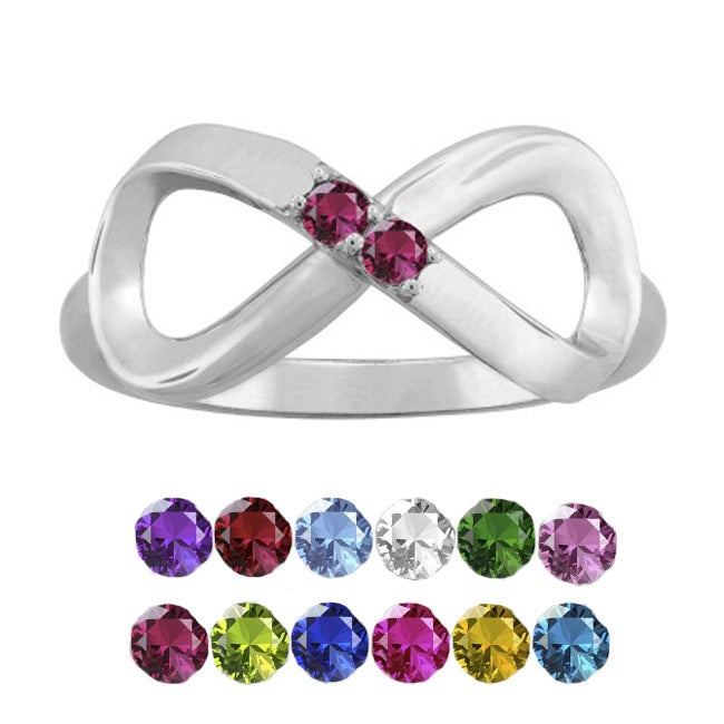 10K White Gold Round-Cut 2-Stone Infinity Mothers Ring (S...